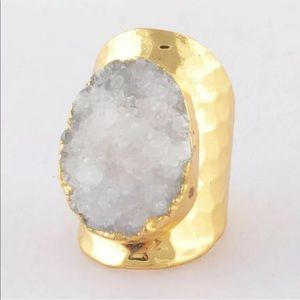 Natural Agate Druzy Geode Gold Plated Cigar Ring